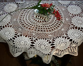 "Doily, Table topper, Large Centerpiece doily, hand crocheted circa 1950s, handmade vintage, Ivory centerpiece doily, Cottage chic, 31"" round"