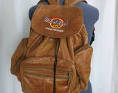 "RARE ""Save the Planet"" Hard Rock Cafe Hollywood Genuine Leather Backpack 1990s"