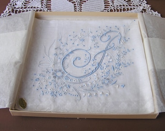Bride's Wedding Hanky . Monogram F . Vintage Handkerchief . Floral . Embroidery. Linen Cotton Hanky . Hong Kong . orig sticker label and box