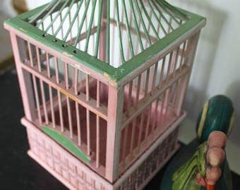 Pretty in Pink..and Green! Vintage wood bird cage, antique bird cage, wood bird cage, 1960's shabby chic decor, pink and green wedding