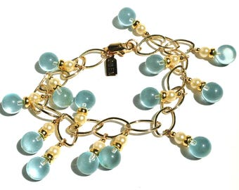 "Aquamarine and Glass Pearl Gold Link Bracelet, ""Bubbles 82"""