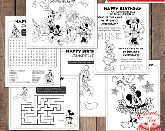 Mickey Mouse Clubhouse Birthday Coloring and Activity Pages Digital Download