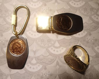 1 Set of Indian Head Penny Ring, Money Clip and Key Ring