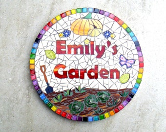 Personalised mosaic Garden sign, plaque, personalised gift, pumpkin, allotment, vegetable patch, rainbow, round sign, made to order
