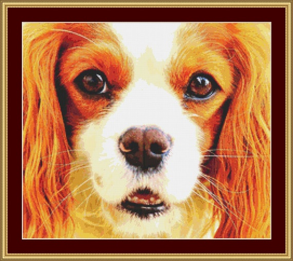 Cavalier Face Cross Stitch Pattern /Digital PDF Files /Instant downloadable