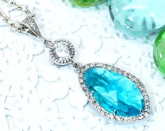 Teal Blue Necklace Blue Bridal Necklace Bridesmaid Necklace Pave Crystal Rhinestone Pendant Necklace Something Blue Aqua Blue TB40N