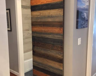 Custom Multi-Stain Horizontal Plank Sliding Barn Door