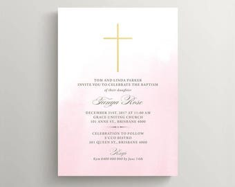 Baptism Invitation \ Christening Invitation \ Holy Communion Invite \ Pink and Gold (CH55)