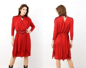 SALE Vintage Red Belted Dress