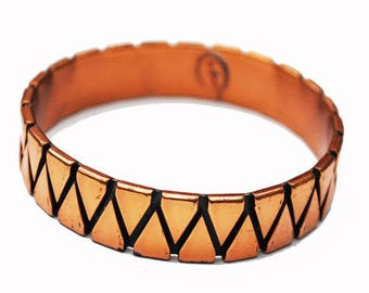 Renoir Copper  Bangle  -Abstract Triangle - Modernistic - Mid century Mod -Signed  Bracelet