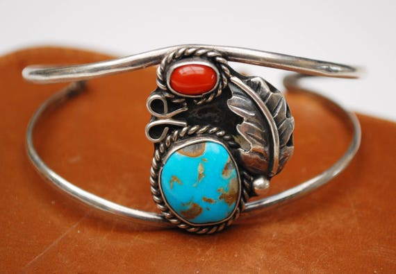 Turquoise  Coral Cuff Bracelet - Sterling Silver - Southwestern  - silver leaf -Native American - Old Pawn