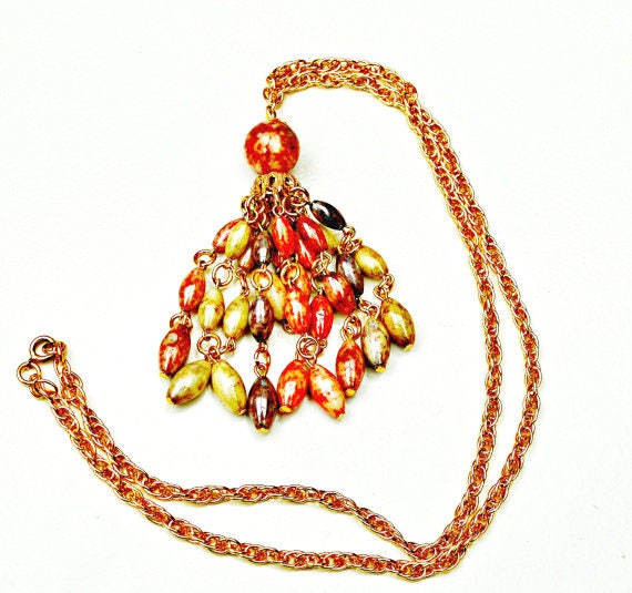 Bead tassel necklace - Colorful Pink Cream - grayish beads -mid century