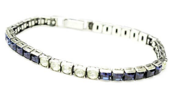 Otis Sterling Blue  Rhinestone Bracelet  - Art DEco - Clear sapphire blue stones - channel set - Signed - Tennis Bracelet