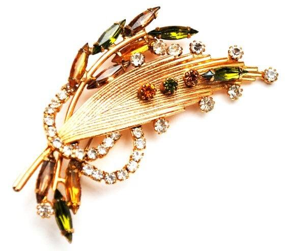 Vintage Rhinestone gold leaf  Brooch - orange green clear crystal - large  Floral Mid Century Pin -