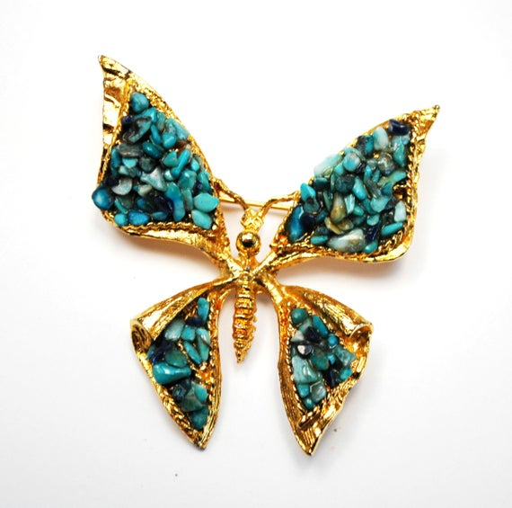 Turquoise Chip Butterfly Brooch - Agua Blue Gemstone  - Gold metal - Insect Pin