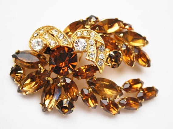 Weiss Rhinestone Brooch -Brown  Orange Champagne  -  Clear Crystal  - Gold metal Floral Leaf pin