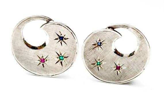 Sterling earrings -Silver  swirl  Rhinestone stars - clip on earring