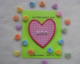 Candy Heart Pin, Sweetheart Valentine Conversational Heart Brooch, Beaded Pin, Artist Jewelry, Fiber Art Pin, Pink Pin, Valentine Gift