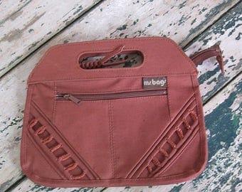 Summer Clearout Vintage 1980's Cocoa Brown Canvas Bag// ms. bags// Handbag// Clutch// Top Handle