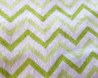 Surplus Fabric 3 Yards Of Snuggle Flannel Fabric Chevron Green Small