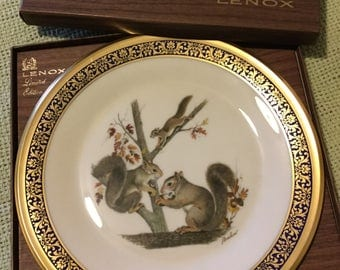 1979 Lenox Limited Edition-Boehm-Woodland Wildlife-SQUIRRELS Cabinet Plate in Box