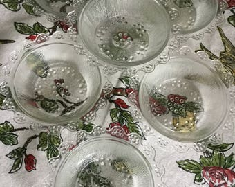 Six Beautiful Clear Patterned Glass Cereal Bowls Unknown Maker