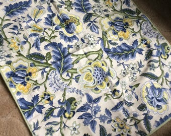 Waverly Blue Yellow Ivory and Green Floral Pillow Sham Case Cover-Bedding