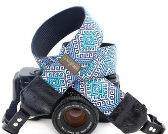 ON SALE The Hapi in Blue Camera Strap with Native Pattern and Quick Release Buckles -- 1.5 inches wide