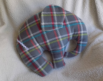 Grey, red, yellow plaid elephant pillow