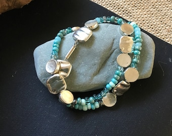 Silver and turquoise seed bracelet