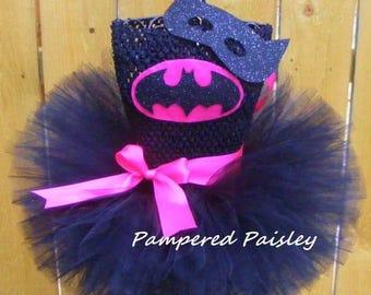 PRE HALLOWEEN SALE Pink Batgirl tutu,Batman tutu,Batgirl tutu dress,Batman tutu, Halloween Costume, Bagirl Birthday, Superhero Birthday, Inf