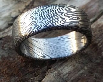 "Stainless steel Damascus ""dark coral"" Customizable ring!"