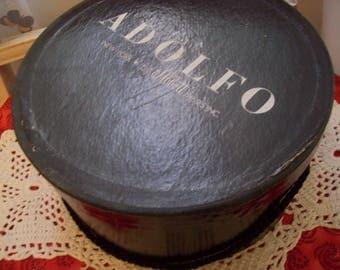 Adolfo Hat Box / Small Size Black Hat Box/ Vintage Hat Box/ Fashion Accessory Box/ Collectible/ Wig Box