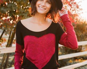 Heart Sweater in Red Wine/Black