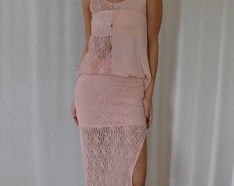 SALE Side Slit Lace Skirt in Duty Rose