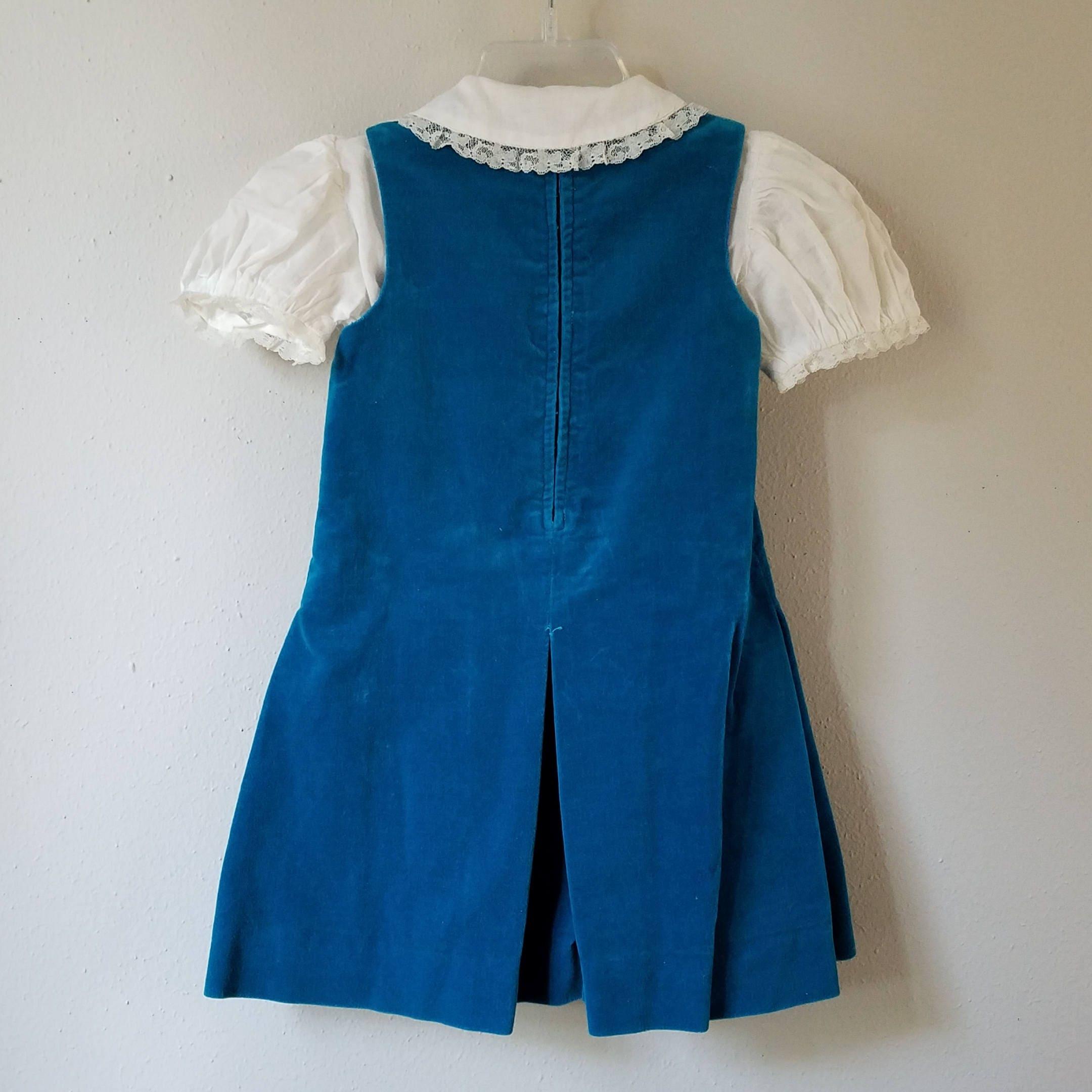 Vintage Girls Turquoise Blue Velvet Dress with White Lace Blouse