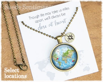 Long Distance Friendship • Best Friend • Custom Map Necklace • World Map Necklace • Personalized Gift For Friend