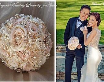 Custom Brooch Bouquet, Blush Pink and Gold Jeweled Wedding Bouquet, Rose Gold, Pink and Gold Broach Bouquet, Vintage Bouquet, DEPOSIT