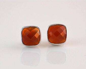 ON SALE Carnelian stud earrings, Gemstone stud earrings, cushion cut earrings, carnelian earrings, carnelian jewelry, silver post earrings,