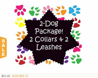 Puppy Love Sale - 40% Off 2 Dog Package! 2 Collars and 2 - 6 Ft Leashes - Dog Collar Set - Available in all Dog Collar Listings