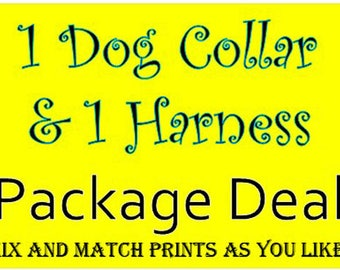 1 Dog Collar & 1 Harness Package - Dog Harness Set - Dog Collar Set