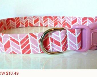 "Sale - 50% Off Herringbone Dog Collar - Pink & Salmon - ""Rosanne"" - Free Colored Buckles"