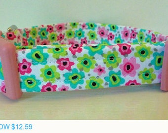 "Sale - 40% Off Girly Turquoise Pink & Lime Green Flowers Dog Collar - ""Beth"""