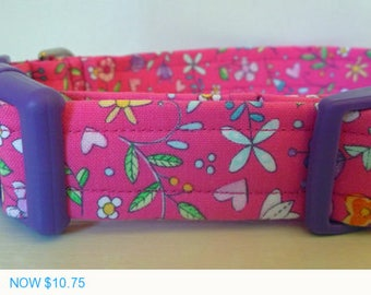 """Sale - 50% Off Dog Collar - Girly -Floral Magenta, Pink, Purple, Turquoise and Orange-""""Jessica"""" - Free Col"""
