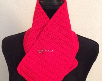 Red Scarflette with decorative pin