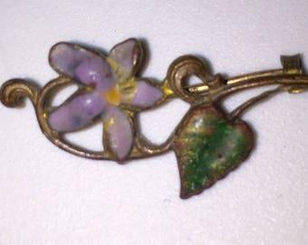 Antique Edwardian Enameled Purple Violet Scatter Pin Victorian Lapel Pin