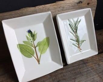 Herb Bowl bowl set, stacking herb spoon test, herb soap dish, sage herb ring dish, Rosemary Herb Dish, handmade pottery dish