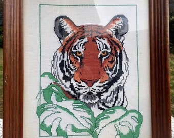 17% OFF SALE Needlepoint Tiger/Framed Tiger Needlepoint/ 13 x 16 Finished Tiger Head/Big Cat in Jungle/Jungle Decor Picture/Year Of the Tige