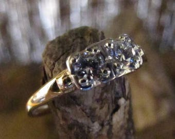 DEADsy LAST GASP SALE English Lady: Antique Double Diamond in White and Yellow Gold,  British Engagement Ring, Wedding Band - Two Tone Euro
