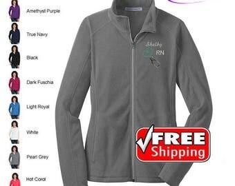 RN Nurse Heart Stethoscope Micro Fleece Full Zip Jacket